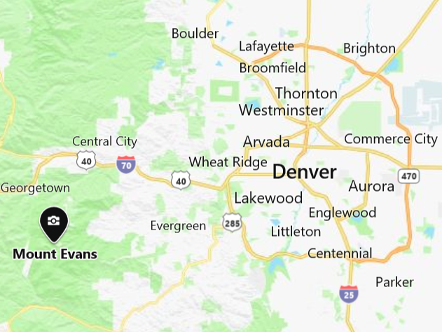 Mount Evans area map showing Denver only 60 miles east of the mountain