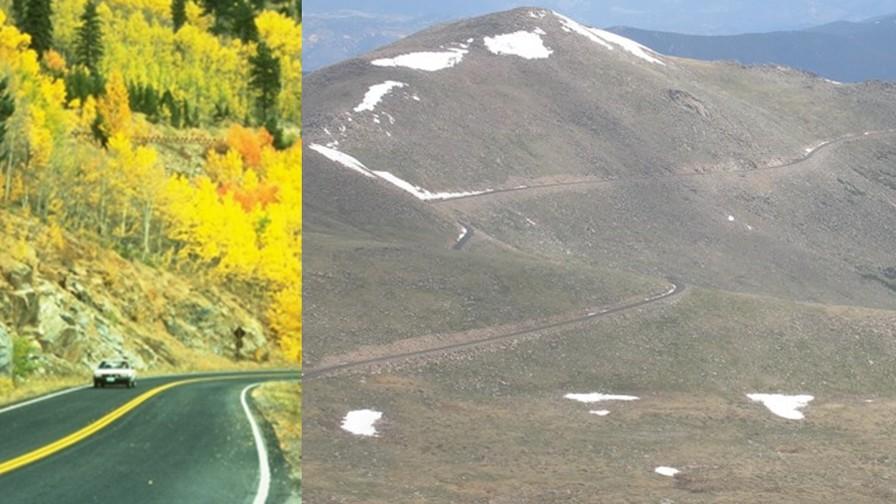 Split view of road to Mount Evans