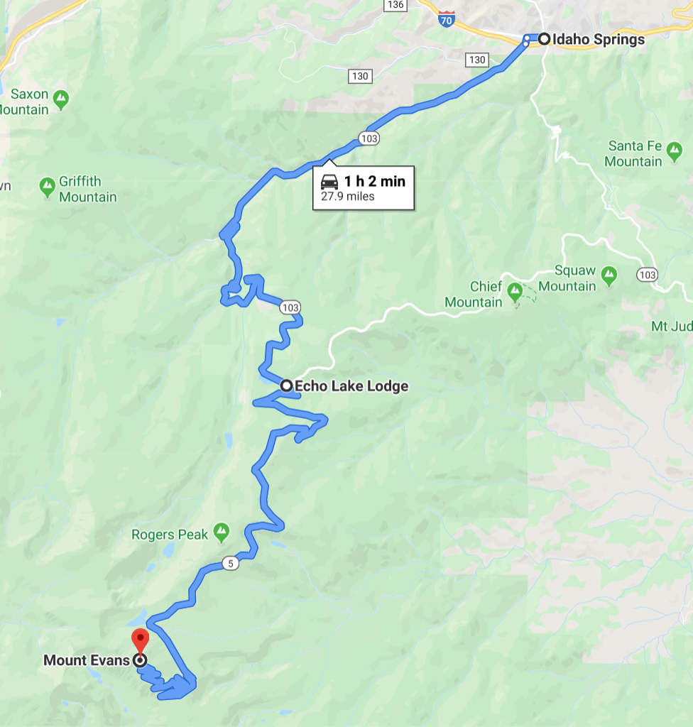 Map from Idaho Springs to Mount Evans