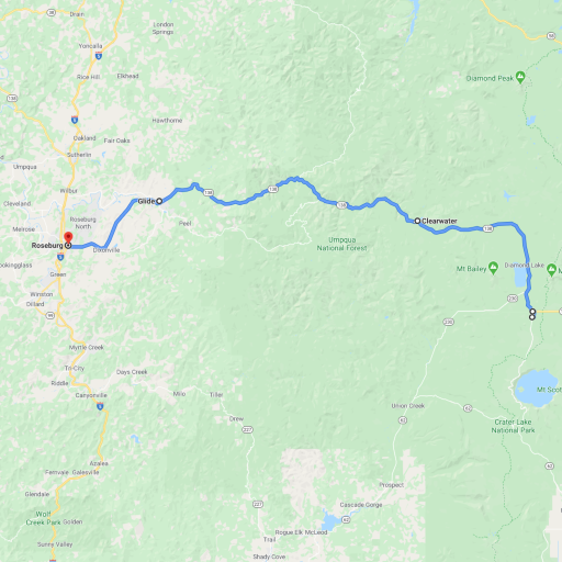 Map from Crater Lake to Roseburg OR