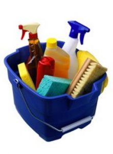 Bucket filled with wash tools.