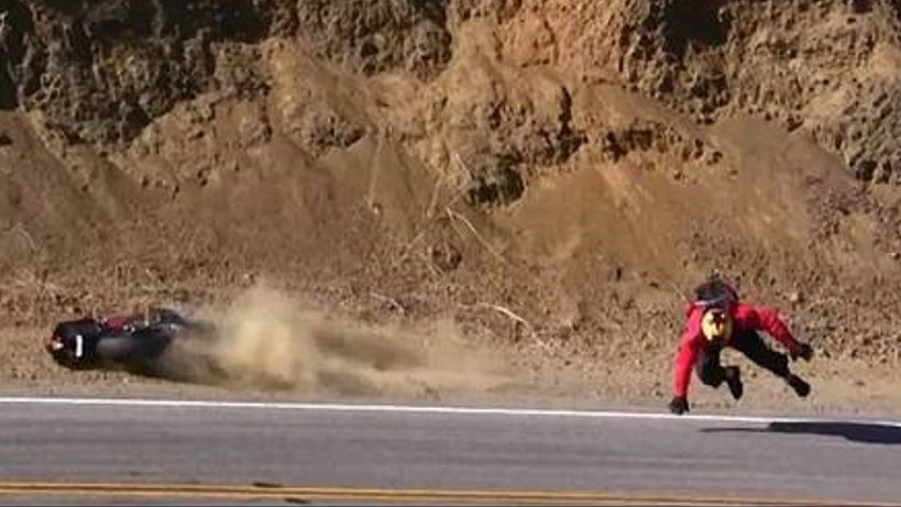 motorcycle crash on Mulholland Highway.
