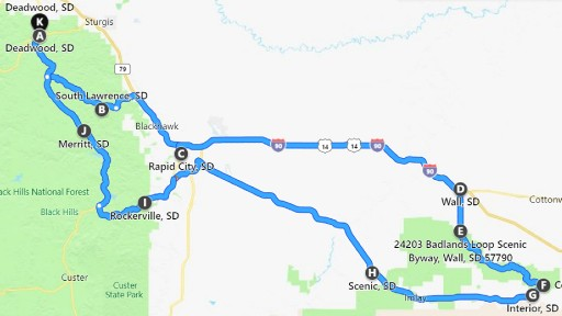 Route map - Deadwood to Badlands National Park
