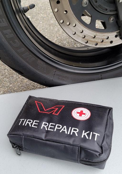Motorcycle tire repair kit.
