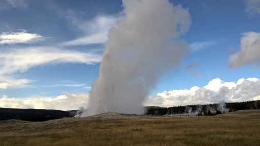 Old Faithful erupting in the late afternoon against a mostly blue sky