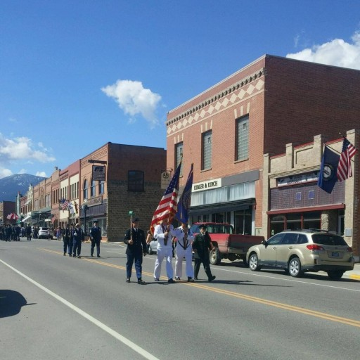US Flag bearers marching in Memorial day parade on main street in Red Lodge Montana