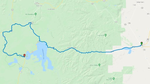 Map of the route from Cody WY to Yellowstone National Park