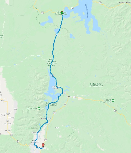 Map of the route from Yellowstone to Grand Teton National Park ending in Jackson WY