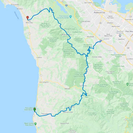 Map showing the route from San Jose to Alice's Restaurant and then to points both north and south on Highway 1