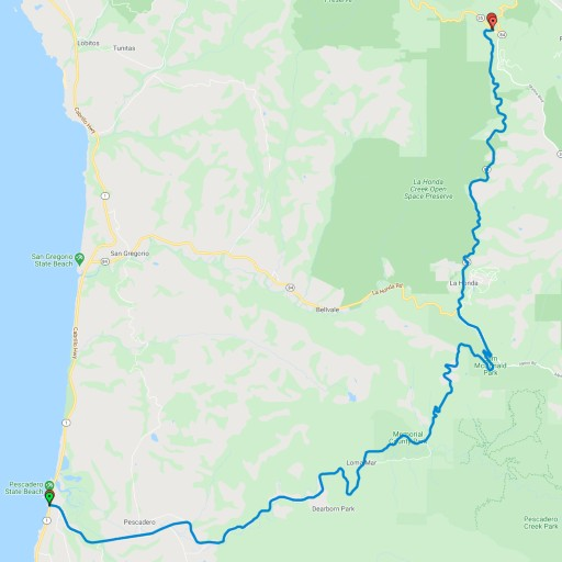 Detailed map showing the route south from Alice's Restaurant to Highway 1 on the Pacific Ocean